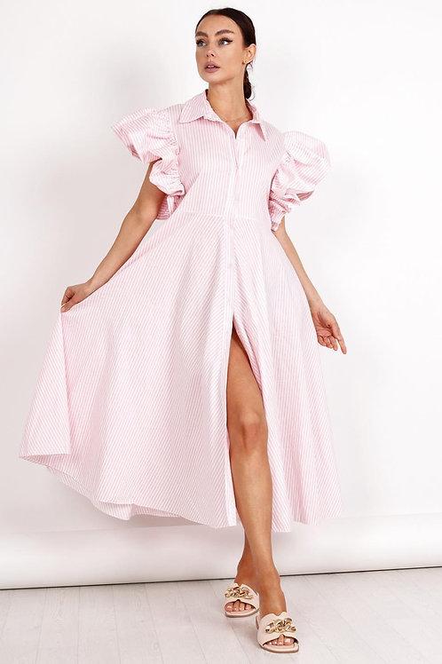 Dryžuota ilga suknelė