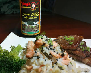 Salmon Rice with Korean BBQ Marinated Short Ribs