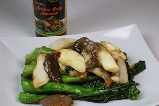 Chinese Broccoli (Gai Lan) and Oyster Mushroom Stir Fry