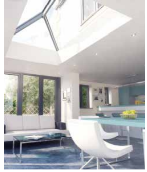 Contemporary design rectangular lantern glass roof with white frame