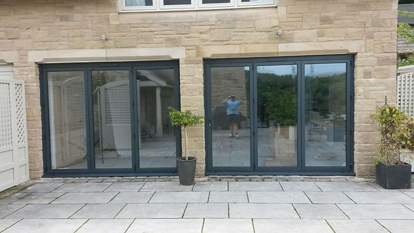 Two Sets of Aluminium Bi-Folding Doors in Anthracite Grey Colour