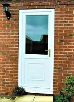 uPVC White Back Door with clear glass top panel and grooved bottom panel
