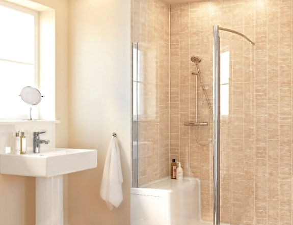 Beige small tile pattern panels in the bathroom
