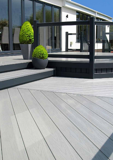 polymer decking in stone colour