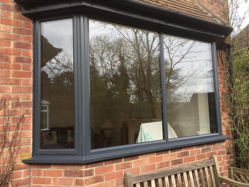 Admiral Windows Oxford Aluminium Bay Window in Anthracite Grey