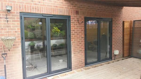 Aluminium Double Doors in Grey Colour