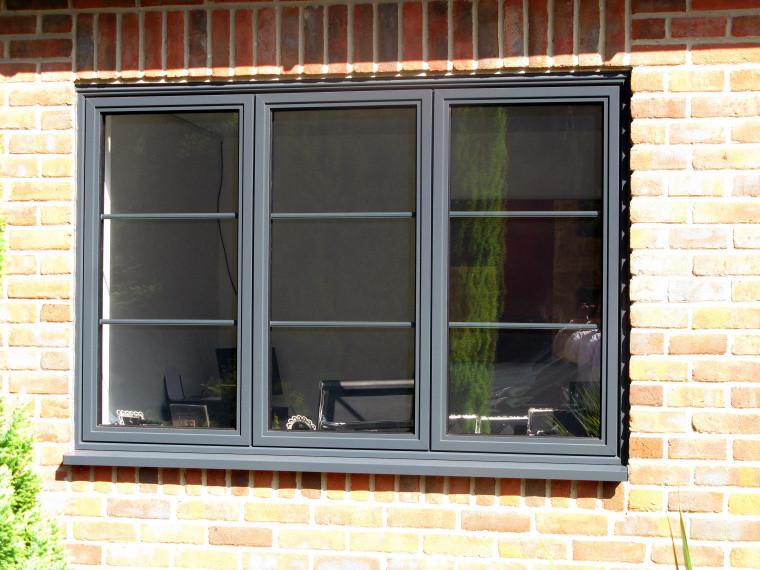 Admiral Windows Oxford Aluminium Window with Georgian Bars in light grey colour