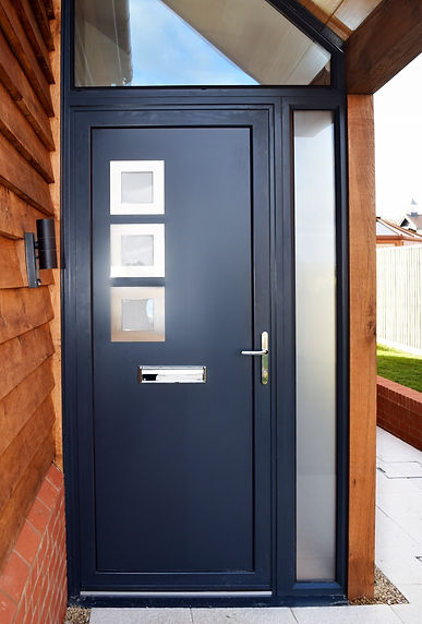 Anthracite Grey Aluminium Front Entrance Door with a side glass panel Apple Blossom
