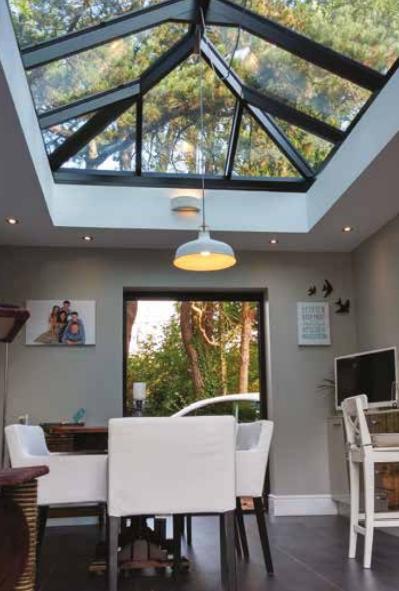 Rectangular lantern glass roof regular design with anthracite grey frame