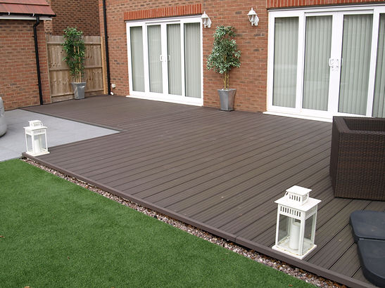 Home garden installation wood plastic composite decking charcoal colour