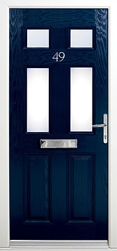 Navy blue composite door with a liver-liver handle and a letter box with decorative glazing in the upper panel