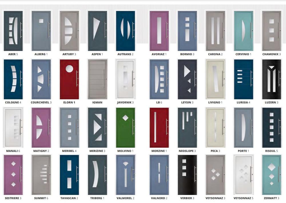The previous range of  40 designs in different colours of Hallmark Aluminium Doors