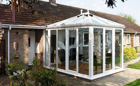 Edwardian uPVC Conservatory Full Height In White with Ultraframe Livinroof