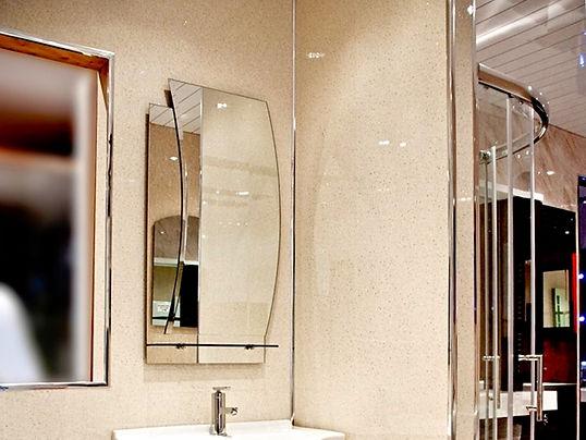 Beige Marbel Panels on the Walls in the bathroom