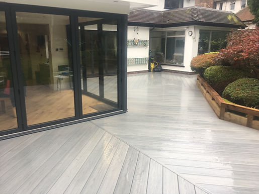Beautiful upvc polymer decking installation in driftwood colour