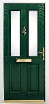 Traditional design composite door in dark green color with a golden shiny letter box and a knocker