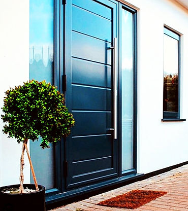 Black Aluminium Door with two side panel