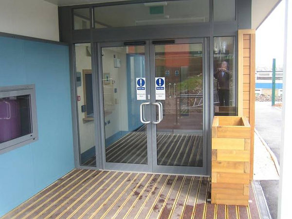Commercial Doors in Light Grey Colour