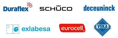 Logos of Apollo Window Suppliers Duraflex, Schuco, Deceuninck, Exlabesa, Eurocell, Veka
