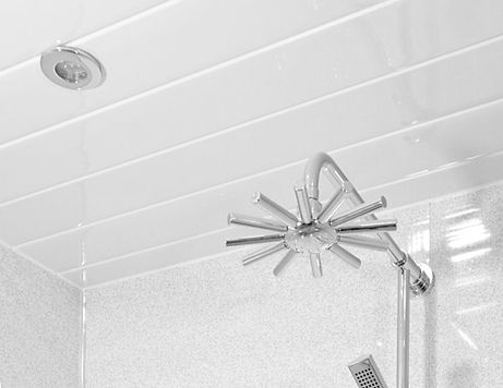 Ceiling panels in a bathroom
