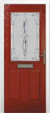 Burgundy composite door with a letter box with stylised glass upper panel