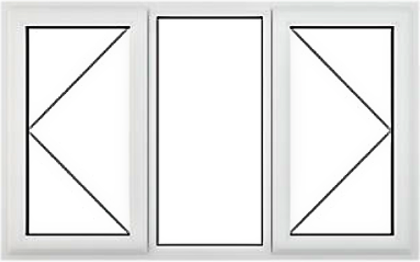 White three pane double glazed upvc window 1600mm x 1200mm with clear glass