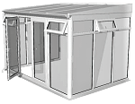White Full height Lean-to Conservatory P