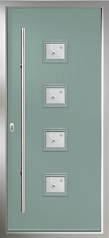 Contemporay design composite door in chartwell green colour with a long matte stainless stell handle
