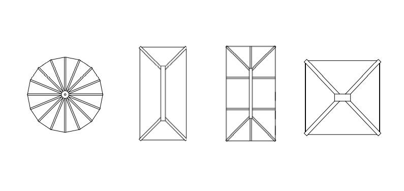 Circular rectangular pyramid shapes lantern glass roofs