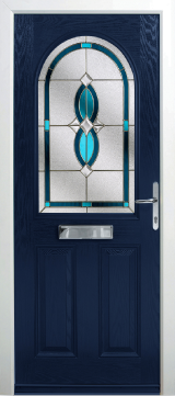 Navy blue  composite door in traditional design with a stainless steel letterbox, upper panel with decorative glass