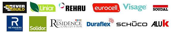 Logos of Apollo suppliers: Liniar, Rehau, Eurocell, Visage, Soudal, Everbuild, Reynaers, Solidor, The Residence Collection, Duraflex, Schuco, ALUK