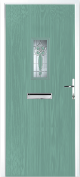 Light Green contemporary style composite door with stainless steel liver-liver handle, letter box and decorative glass panel