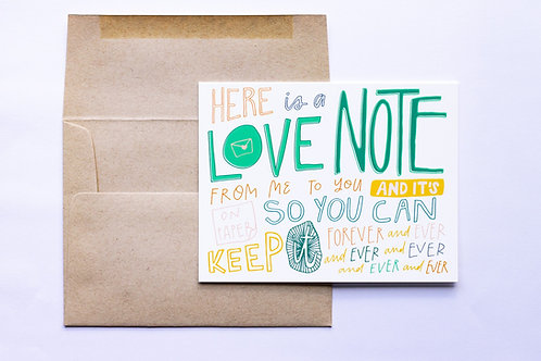 Forever Love Note Greeting Card