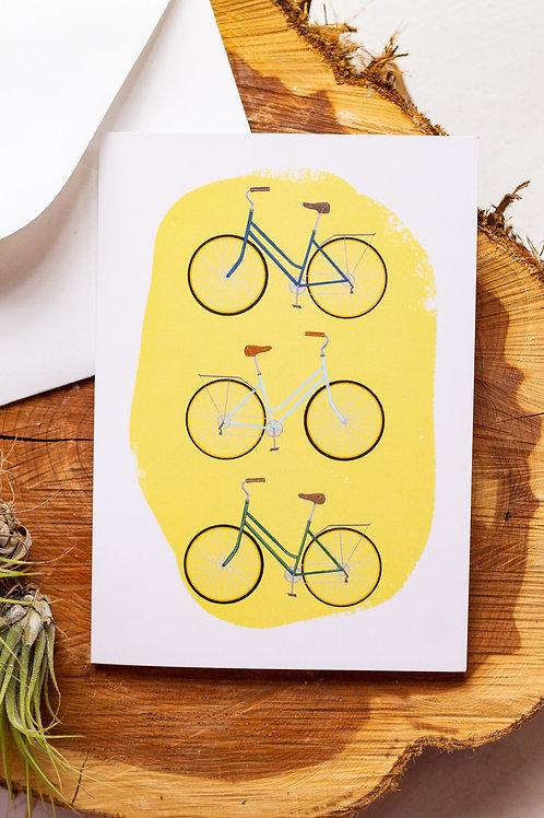 Three Bikes Greeting Card