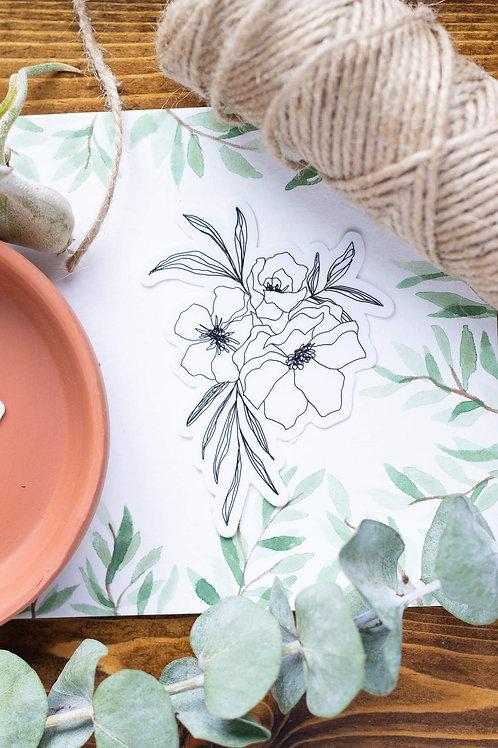 White Peony Floral Vinyl Sticker
