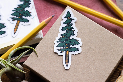 Cayligraphy Pencil Tree Vinyl Sticker