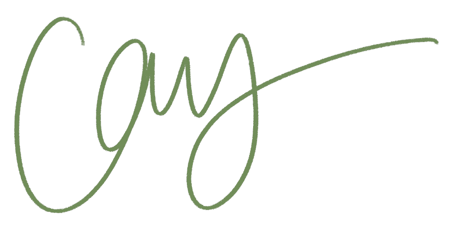 """Green signature that reads """"Cay"""""""