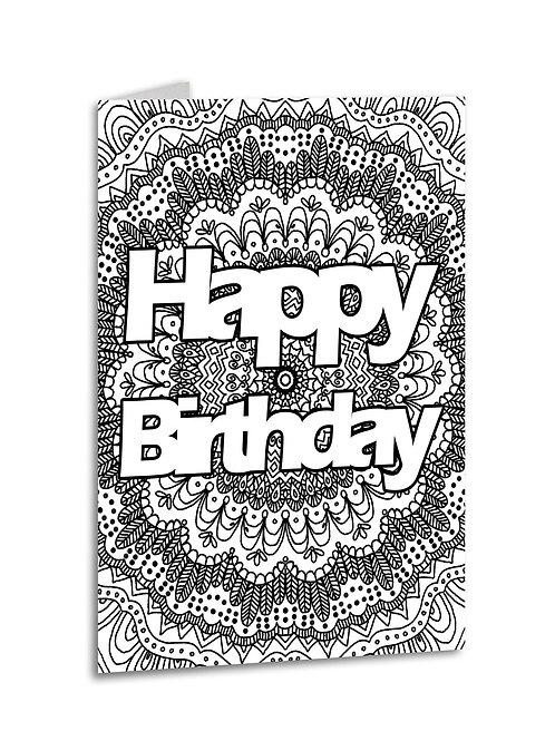 'Happy Birthday' Zentangle Colour Yourself Card