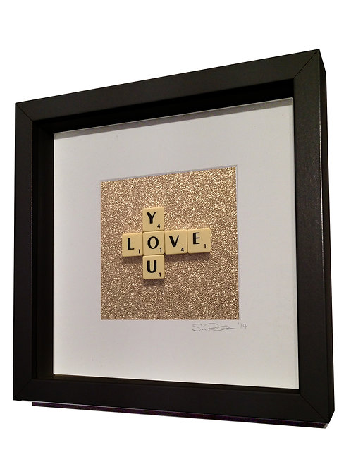 'Love You' Framed Scrabble Artwork
