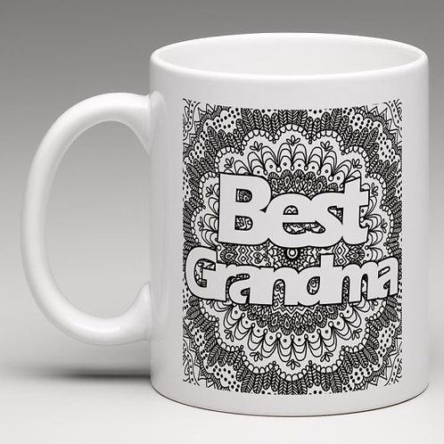 'Best Grandma' Zentangle Colour Yourself Mug