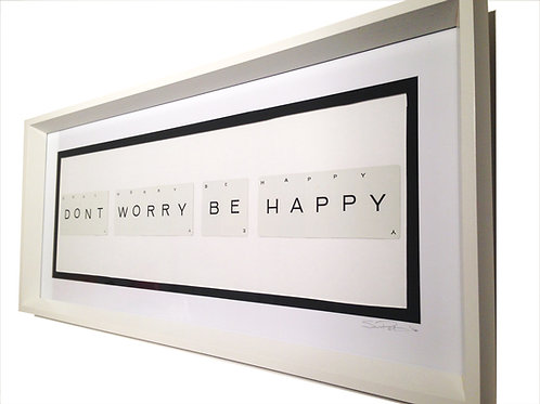 'Don't Worry Be Happy' Framed Vintage Playing Card Artwork