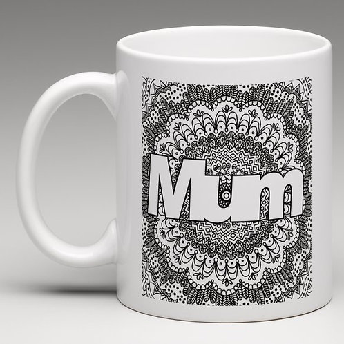 'Mum' Zentangle Colour Yourself Mug