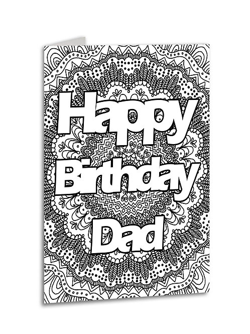 'Happy Birthday Dad' Zentangle Colour Yourself