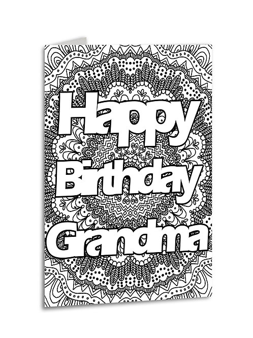'Happy Birthday Grandma' Zentangle Colour Yourself