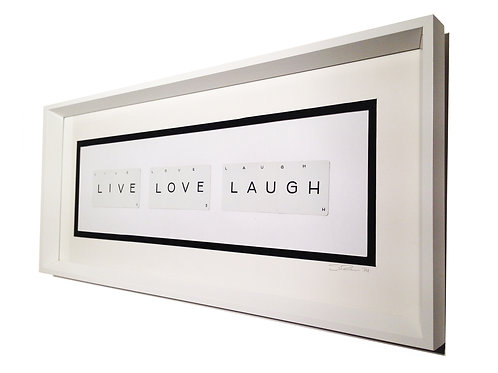 'Live Live Laugh' Framed Vintage Playing Card Artwork