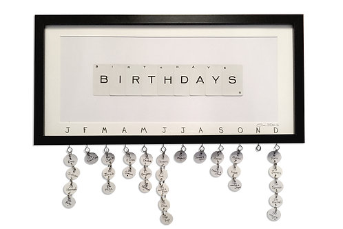 'Birthdays' Framed Vintage Playing Card Artwork