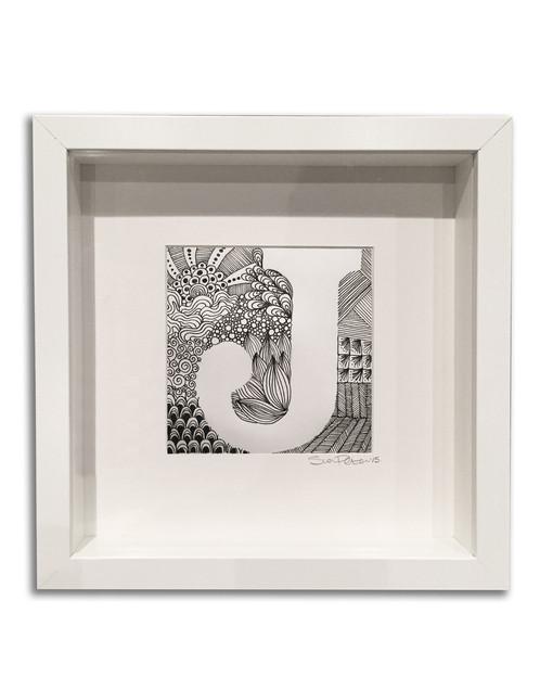 Hand Drawn Framed Monogram Letter Zentangle
