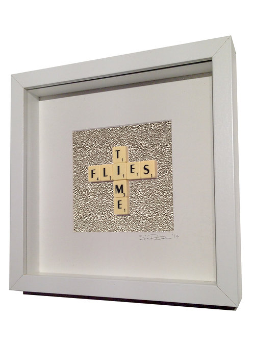 'Time Flies' Framed Scrabble Artwork
