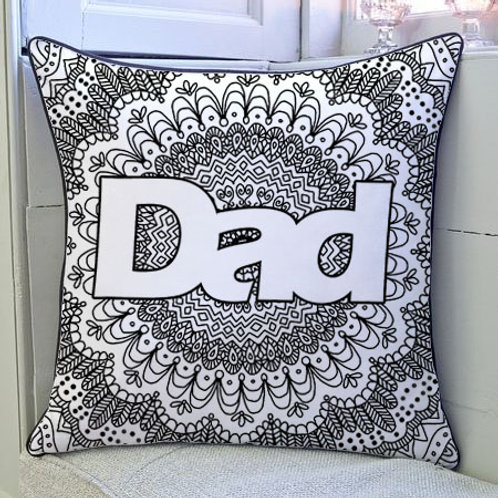 'Dad' Zentangle Colour Yourself Cushion