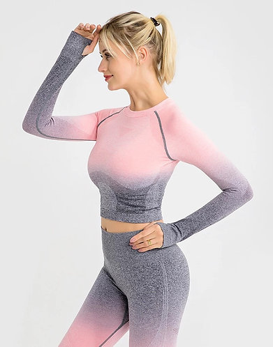 Ombré Seamless|Yoga Long Sleeve Crop Top